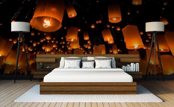 Fotomural Asia y lámparas de papel