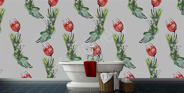 Fotomural baño tulipanes