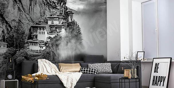 Fotomural blanco y negro con vistas de Asia