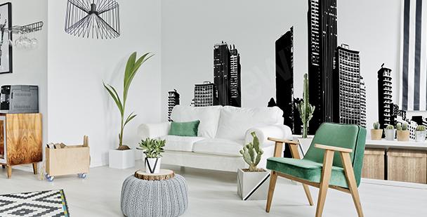 Fotomural blanco y negro panorama
