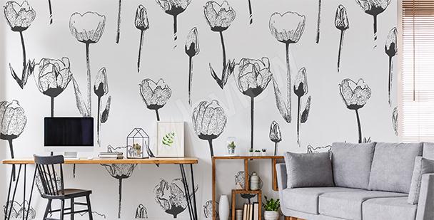 Fotomural blanco y negro tulipanes