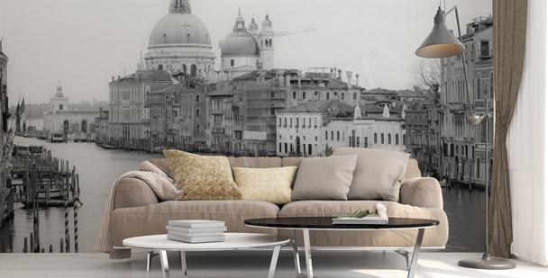 Fotomural blanco y negro Venecia