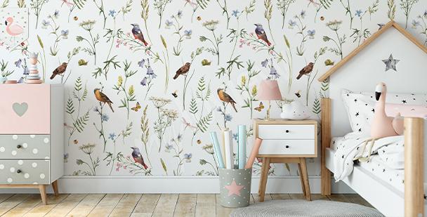Fotomural botánico pájaros