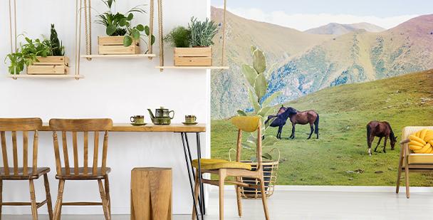 Fotomural caballos en las montañas