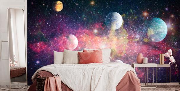 Fotomural colorido estilo galaxy