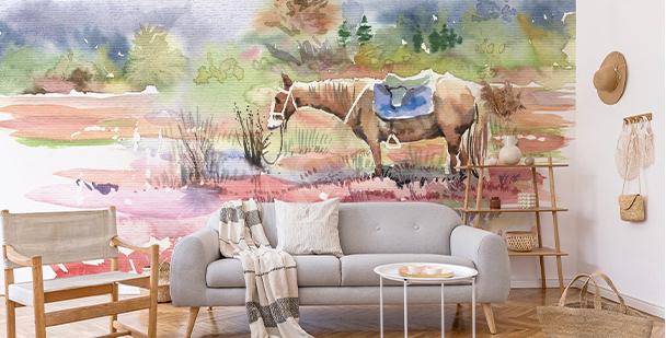 Fotomural con caballo en acuarela