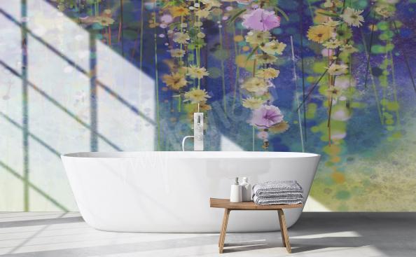 Fotomural con flores par el baño