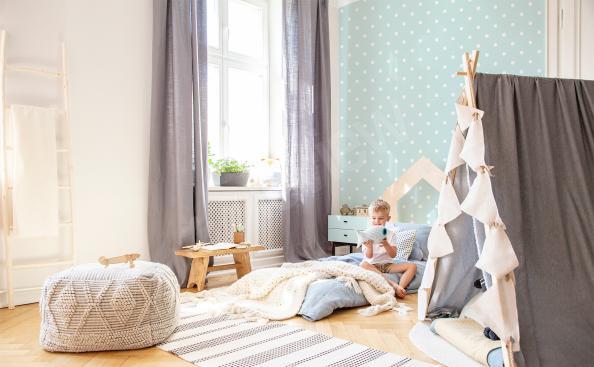 Fotomural con puntos para la habitación de un niño