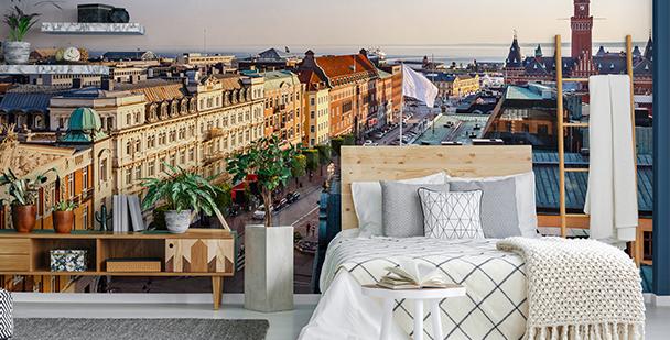 Fotomural con una ciudad para dormitorio