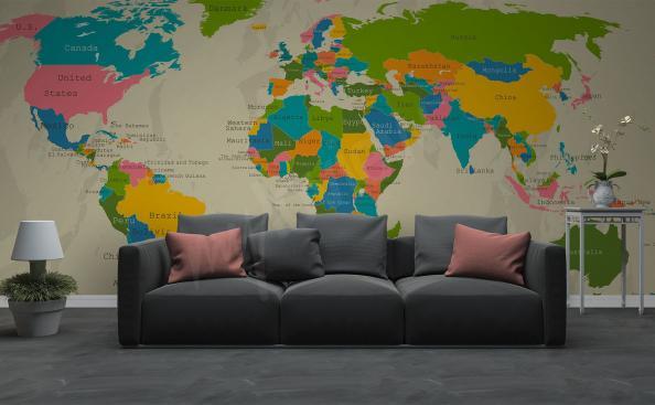 Fotomural continentes para la sala de estar