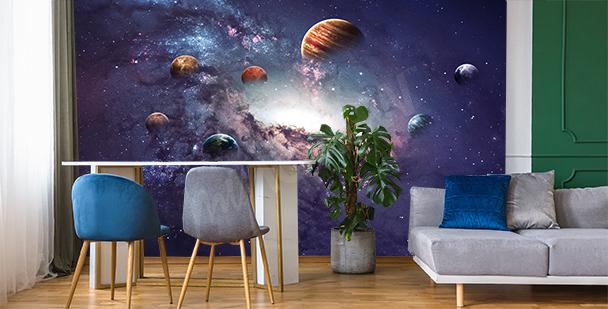 Fotomural cósmico con motivo de planetas