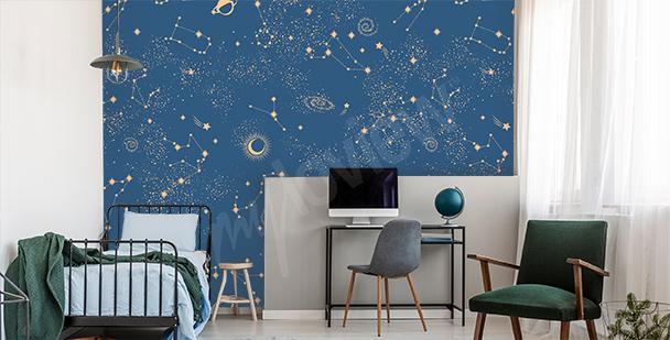 Fotomural cosmos en cuarto adolescente