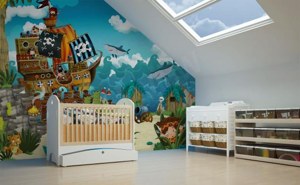 Fotomural de pared con piratas para la habitación de un niño