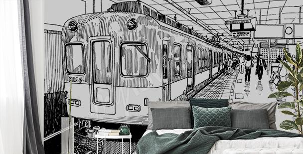 Fotomural dibujo de tren