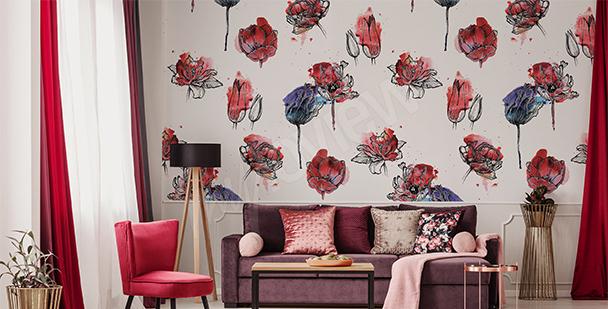 Fotomural diseño con tulipanes