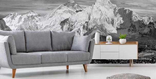 Fotomural en blanco y negro con montañas