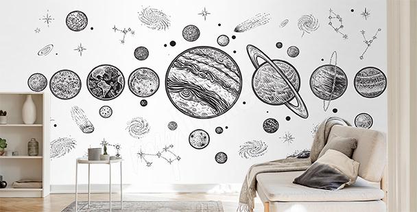Fotomural en blanco y negro planetas