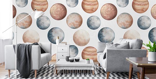 Fotomural en colores pastel para salón