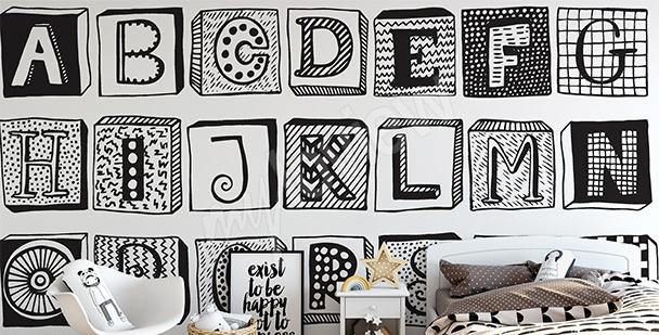Fotomural en letras en blanco y negro