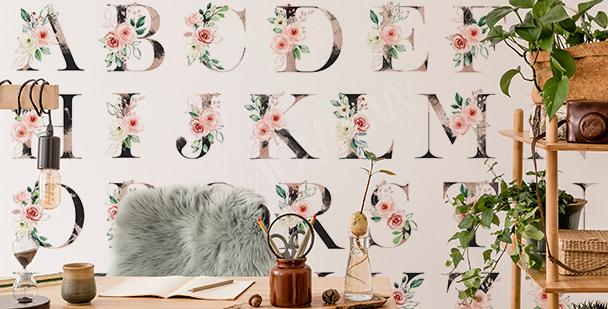 Fotomural floral motivo del alfabeto