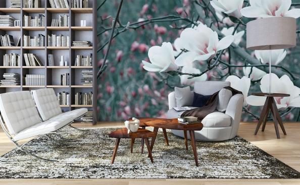 Fotomural flores de magnolia blanca