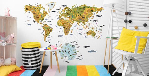 Fotomural infantil con un mapamundi