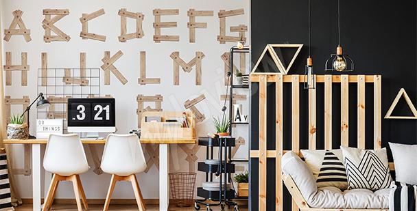 Fotomural letras de madera