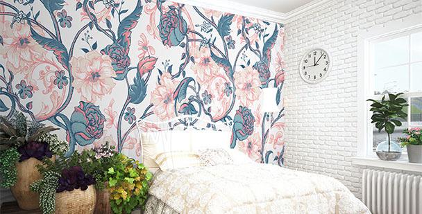 Fotomural magnolia y rosas