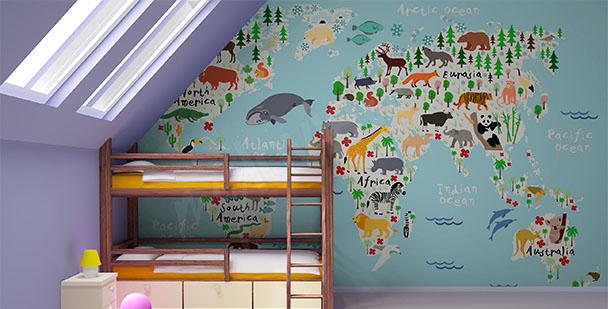 Fotomural mapa de animales