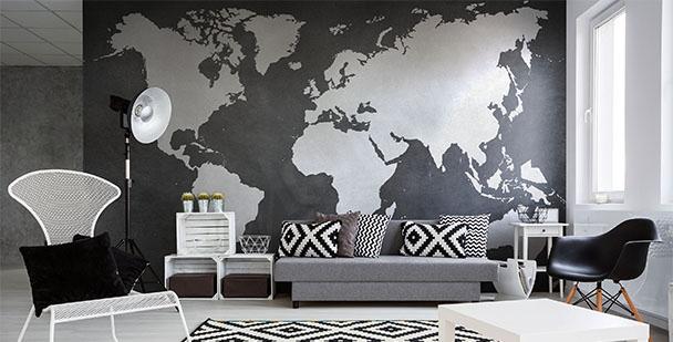 Fotomural mapa en blanco y negro