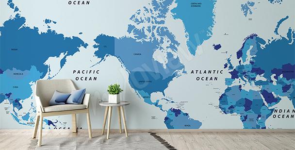 Fotomural mapa político: continentes