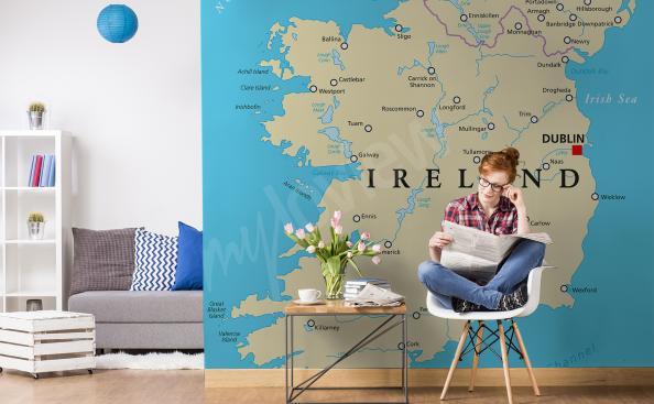 Fotomural mapa político de Irlanda