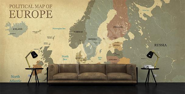 Fotomural mapa político envejecido