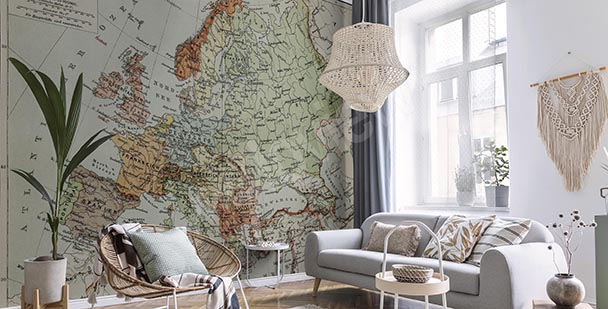 Fotomural mapa retro en grises