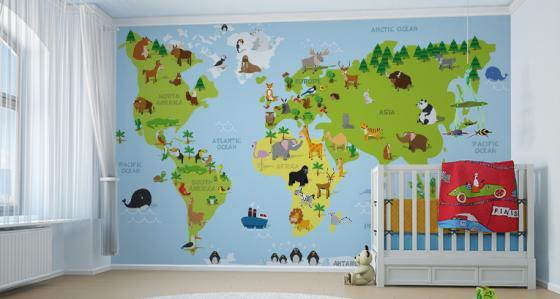 Fotomural mapamundi: para los pequeños viajeros