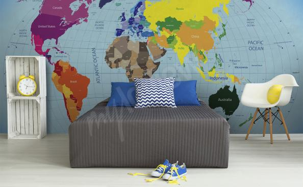 Fotomural mapamundi continentes