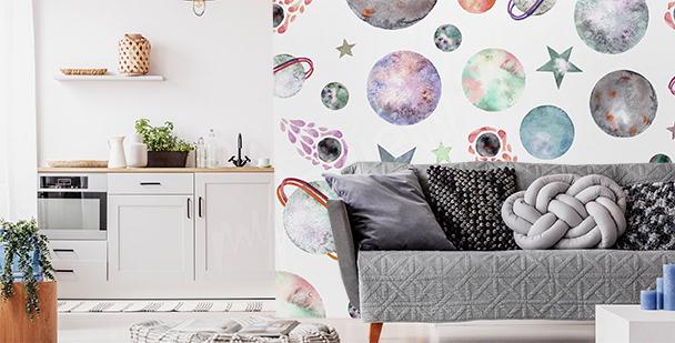 Fotomural minimalista planetas