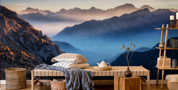 Fotomural montañas al anochecer