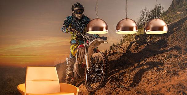 Fotomural motocicleta puesta de sol
