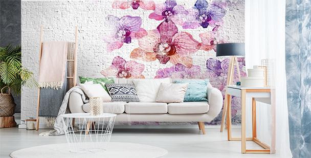 Fotomural muro con flores