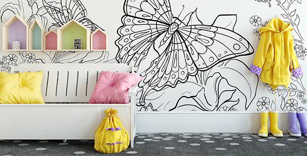 Fotomural para colorear con mariposa