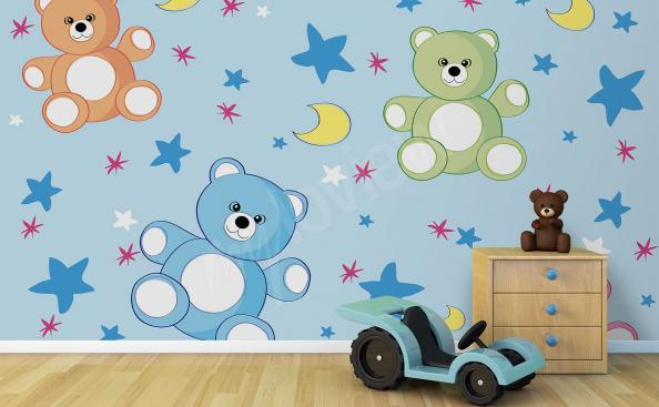 Fotomural para el jardín de infantes osos de peluche de colores