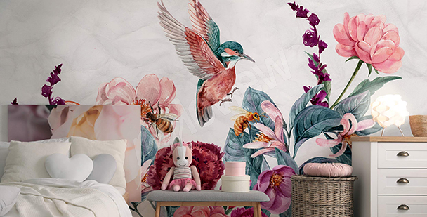 Fotomural para la habitación de niña - colibrí