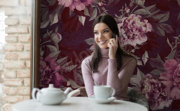 Fotomural para restaurante con motivo floral