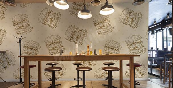 Fotomural para restaurante hamburguesas