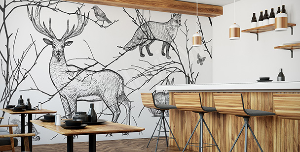 Fotomural para restaurantes: animales