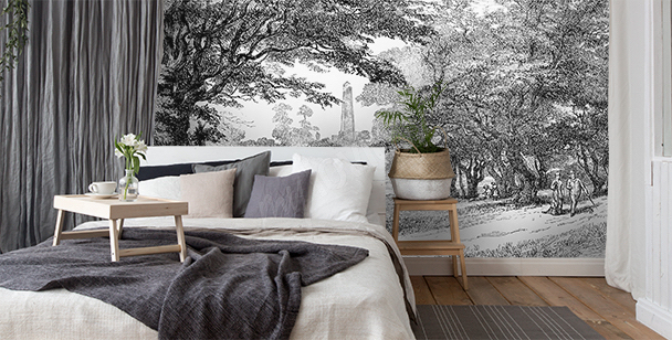 Fotomural parque en blanco y negro