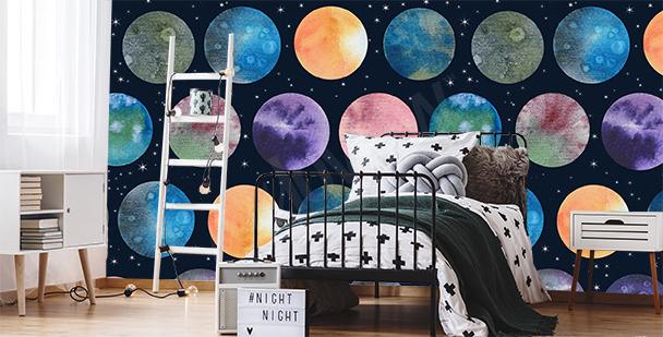 Fotomural planetas en un cuarto joven