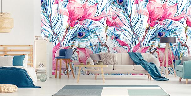 Fotomural plumas y magnolias