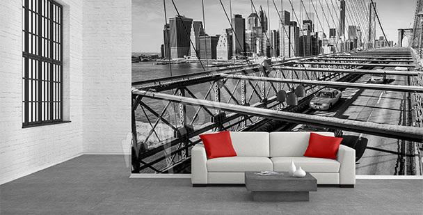 Fotomural puente blanco y negro